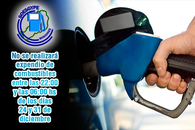El 24 y el 31 no se expenderá combustible entre las 22 y las 6 horas del día siguiente