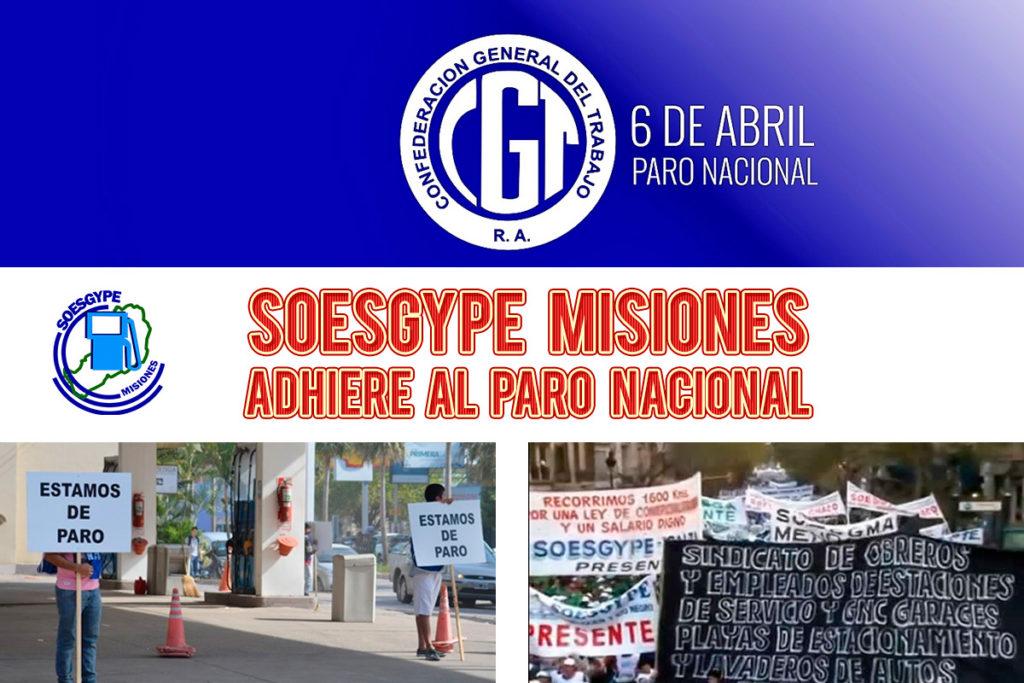 soesgype misiones adhiere paro nacional cgt 6 de abril