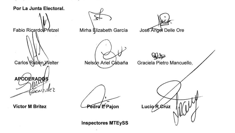 firmas del acta de escrutinio general y proclamacion autoridades elecciones soesgype misiones
