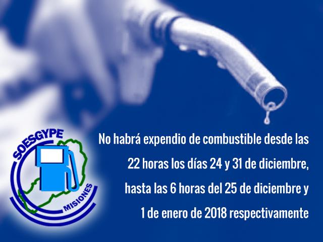 SOESGYPE informa que en la nochebuena y el 31 de diciembre no habrá expendio de combustibles