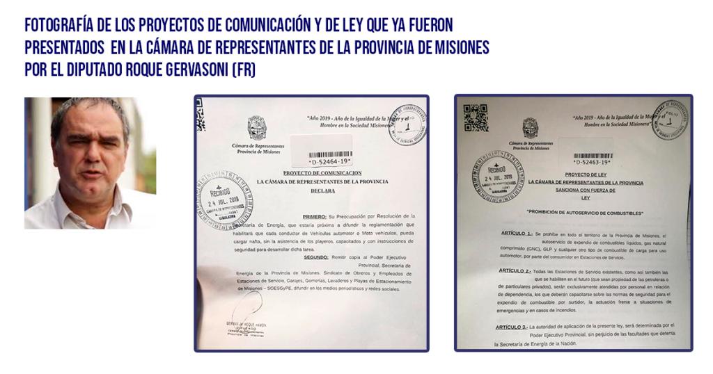Diputado Roque Gervasoni proyectos presentados en la Cámara de Representantes contra el auto expendio de combustibles en Misiones